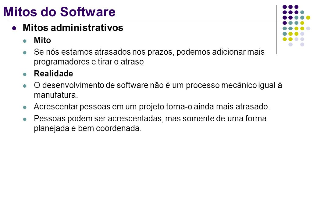 Mitos do Software Mitos administrativos Mito