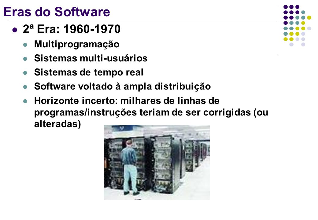 Eras do Software 2ª Era: 1960-1970 Multiprogramação