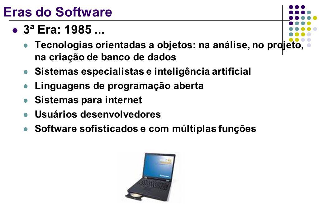 Eras do Software 3ª Era: 1985 ... Tecnologias orientadas a objetos: na análise, no projeto, na criação de banco de dados.