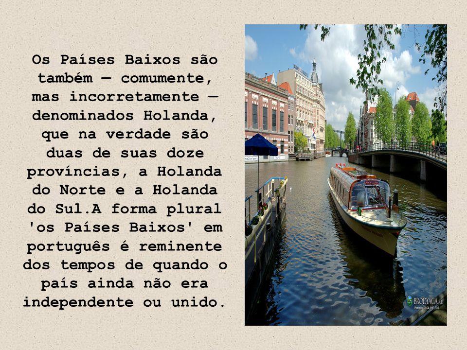 Os Países Baixos são também — comumente, mas incorretamente — denominados Holanda, que na verdade são duas de suas doze províncias, a Holanda do Norte e a Holanda do Sul.A forma plural os Países Baixos em português é reminente dos tempos de quando o país ainda não era independente ou unido.