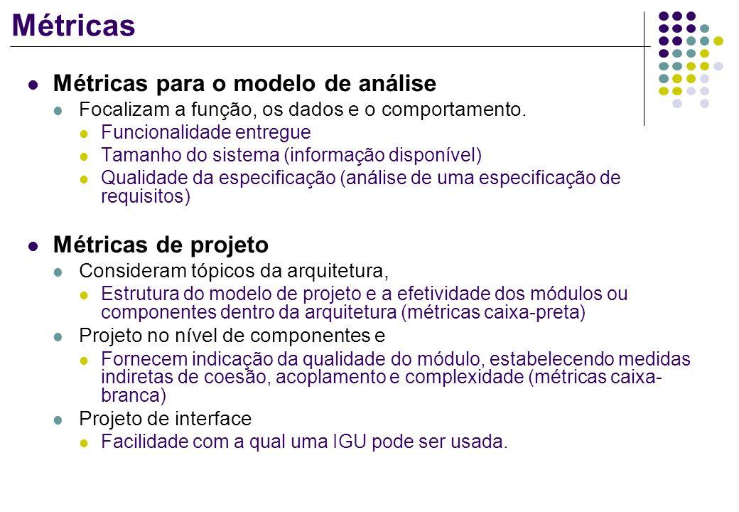 Métricas Métricas para o modelo de análise Métricas de projeto