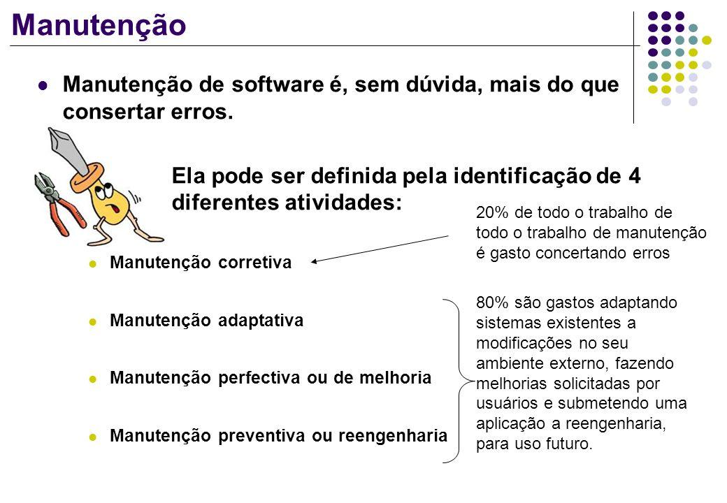 Manutenção Manutenção de software é, sem dúvida, mais do que consertar erros. Ela pode ser definida pela identificação de 4 diferentes atividades: