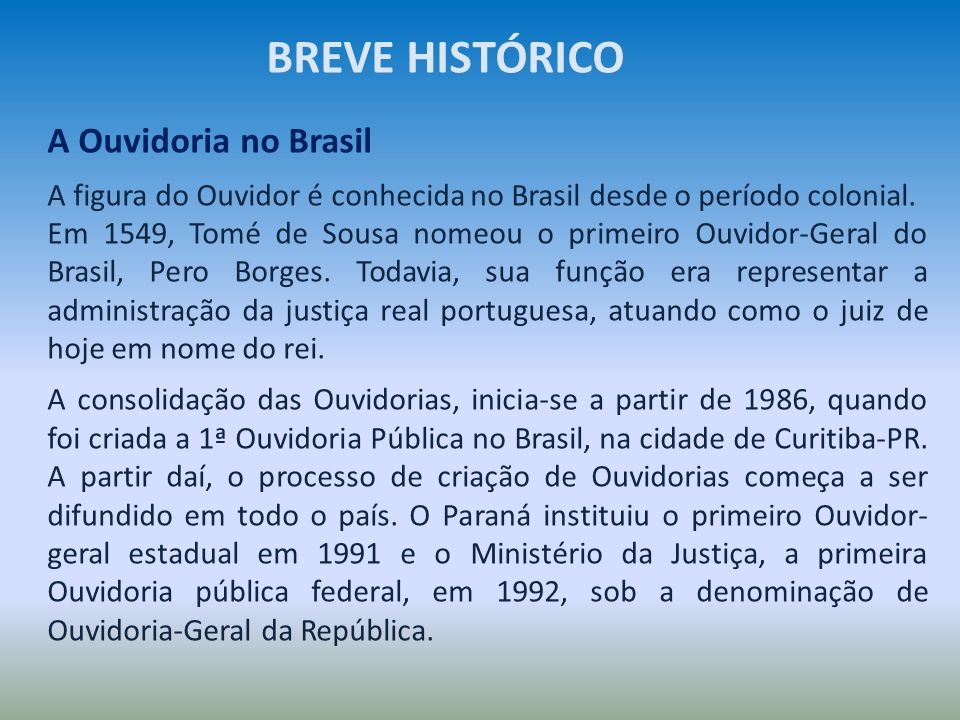 BREVE HISTÓRICO A Ouvidoria no Brasil
