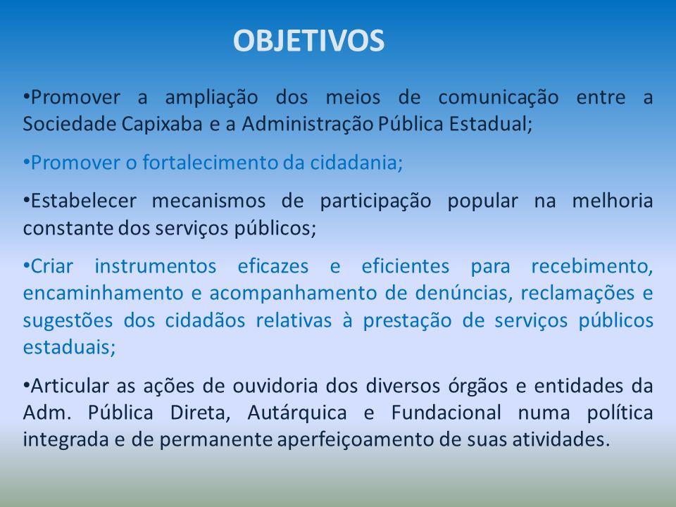 OBJETIVOS Promover a ampliação dos meios de comunicação entre a Sociedade Capixaba e a Administração Pública Estadual;