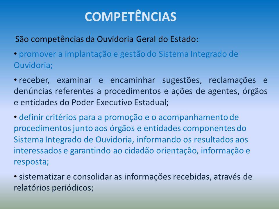 COMPETÊNCIAS São competências da Ouvidoria Geral do Estado: promover a implantação e gestão do Sistema Integrado de Ouvidoria;