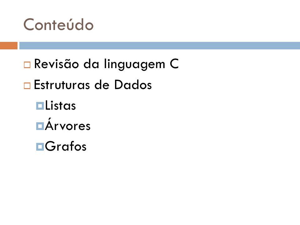 Conteúdo Revisão da linguagem C Estruturas de Dados Listas Árvores