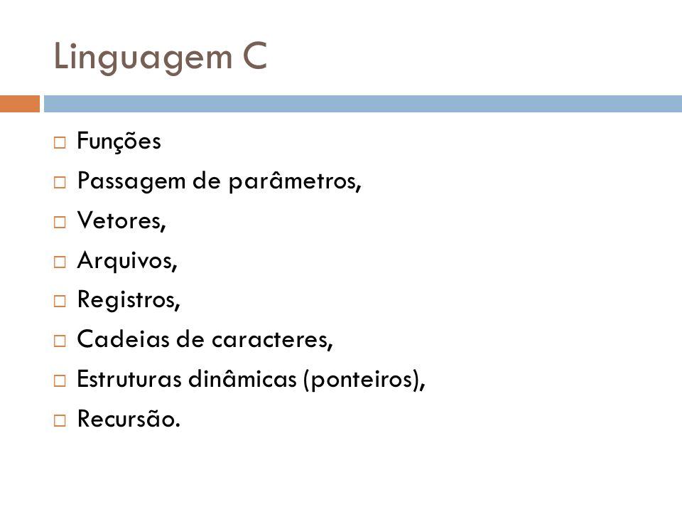 Linguagem C Funções Passagem de parâmetros, Vetores, Arquivos,