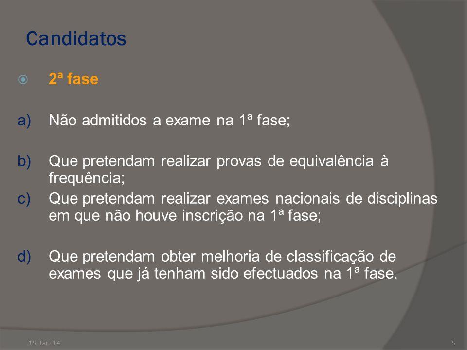 Candidatos 2ª fase a) Não admitidos a exame na 1ª fase;