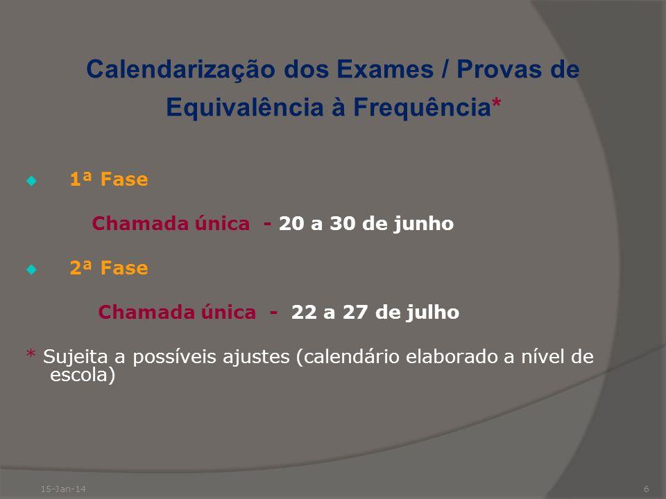 Calendarização dos Exames / Provas de Equivalência à Frequência*