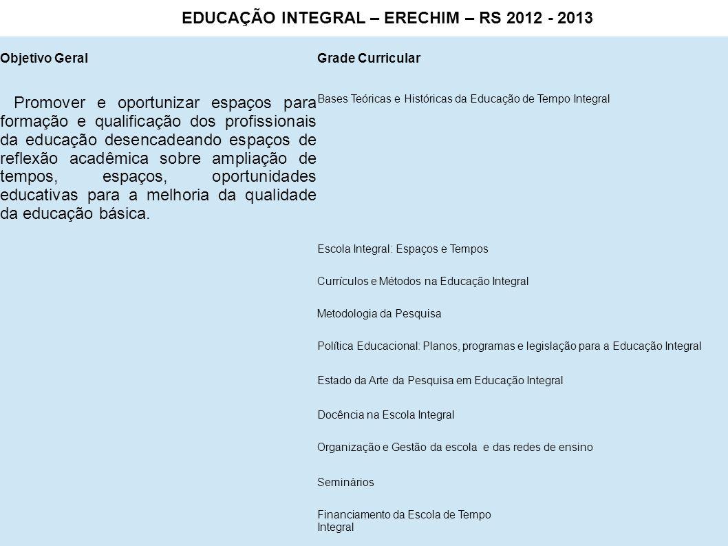 EDUCAÇÃO INTEGRAL – ERECHIM – RS 2012 - 2013