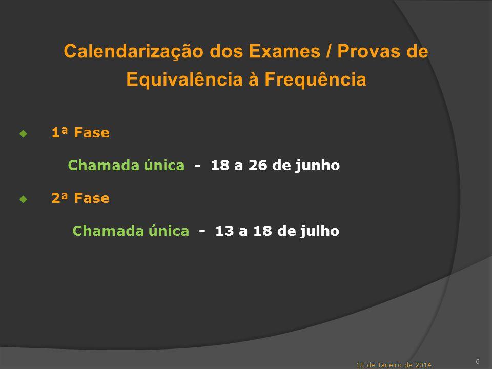 Calendarização dos Exames / Provas de Equivalência à Frequência