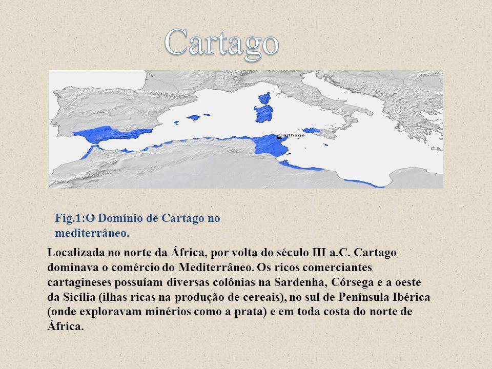 Cartago Fig.1:O Domínio de Cartago no mediterrâneo.