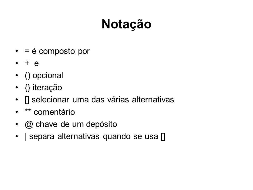 Notação = é composto por + e () opcional {} iteração