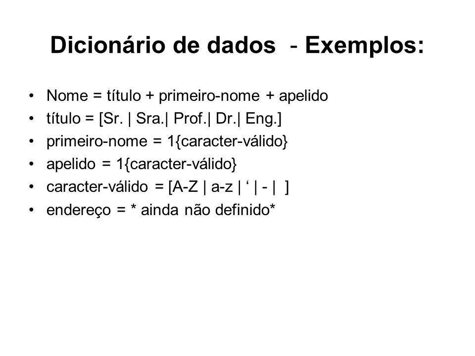 Dicionário de dados - Exemplos: