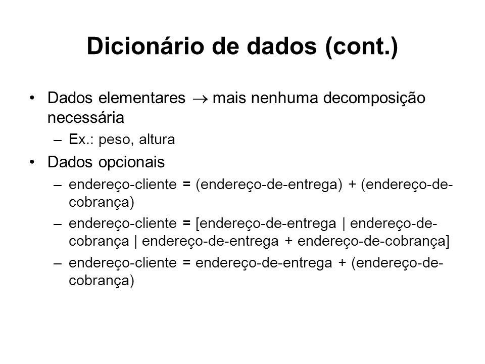 Dicionário de dados (cont.)
