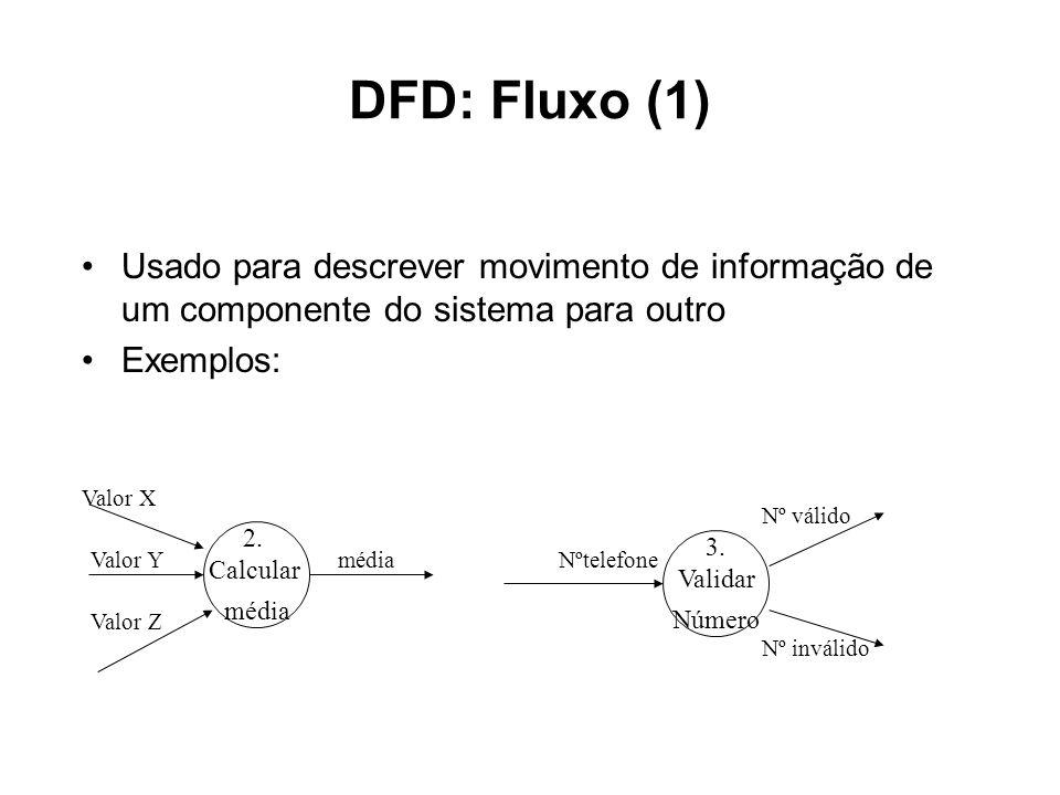 DFD: Fluxo (1)Usado para descrever movimento de informação de um componente do sistema para outro. Exemplos: