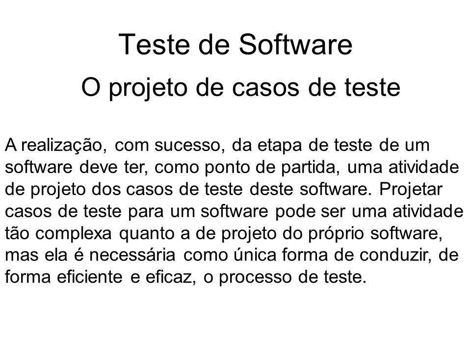 Teste de Software O projeto de casos de teste
