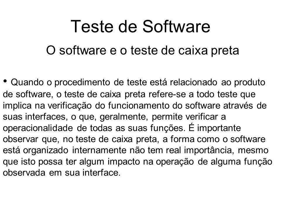 Teste de Software O software e o teste de caixa preta