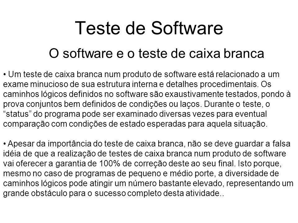 Teste de Software O software e o teste de caixa branca