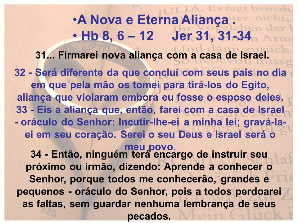 A Nova e Eterna Aliança . Hb 8, 6 – 12 Jer 31, 31-34