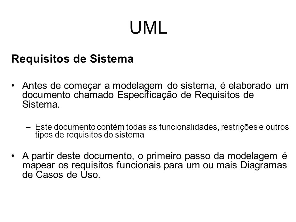 UML Requisitos de Sistema