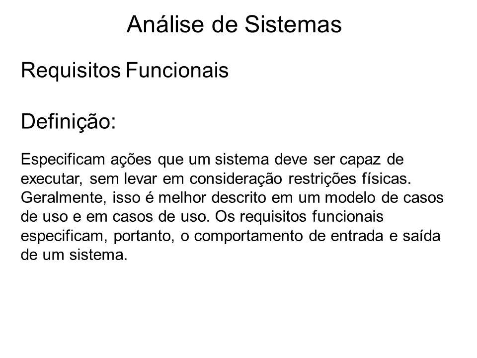 Análise de Sistemas Requisitos Funcionais Definição:
