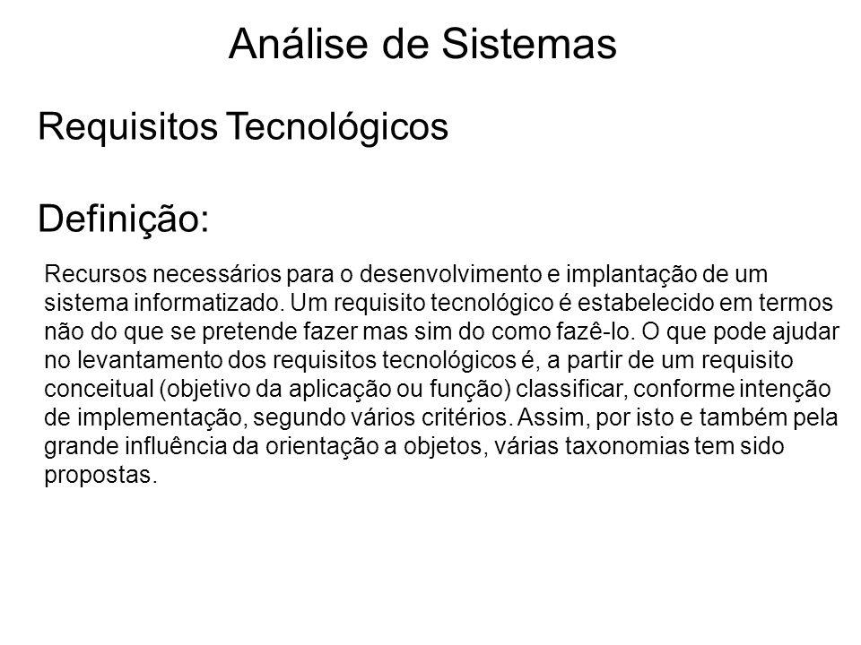 Análise de Sistemas Requisitos Tecnológicos Definição: