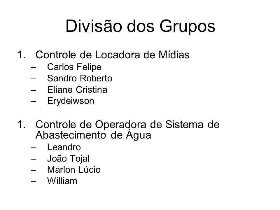 Divisão dos Grupos Controle de Locadora de Mídias