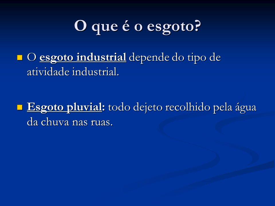 O que é o esgoto. O esgoto industrial depende do tipo de atividade industrial.