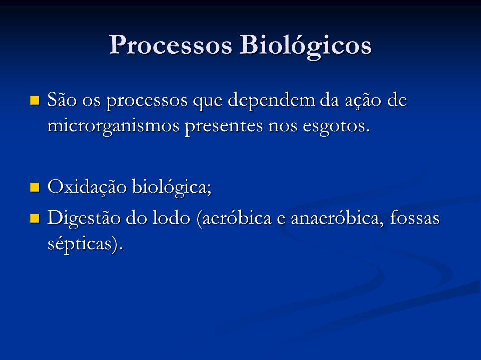 Processos Biológicos São os processos que dependem da ação de microrganismos presentes nos esgotos.