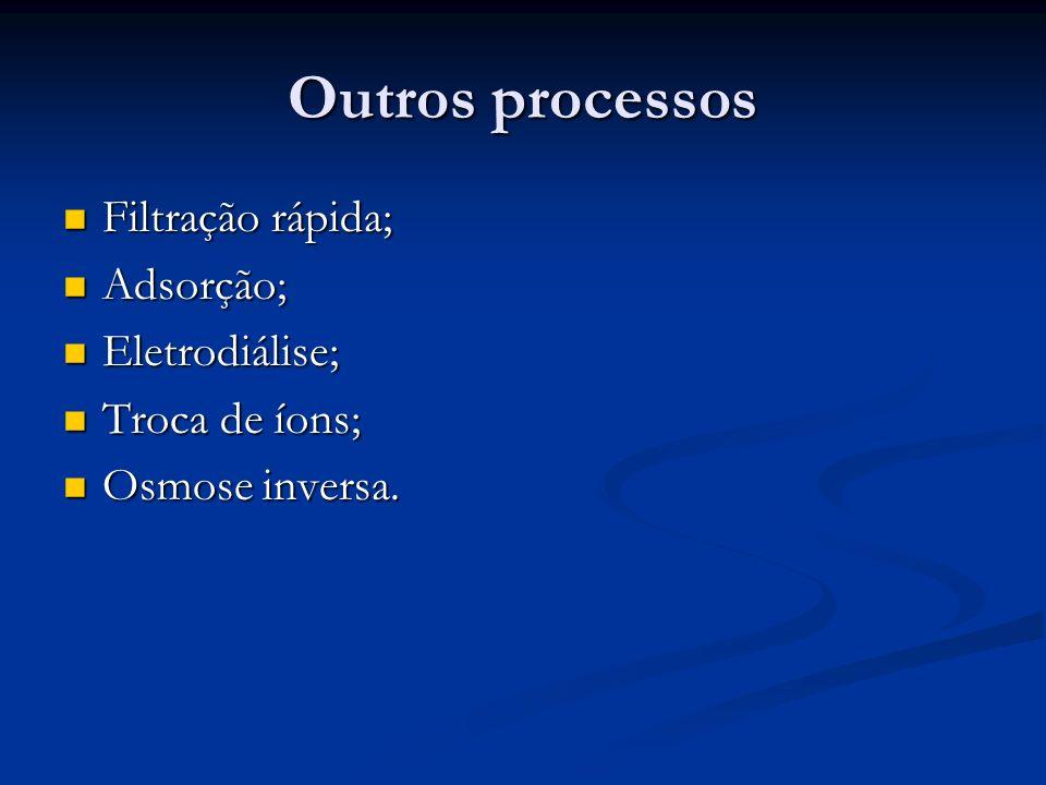 Outros processos Filtração rápida; Adsorção; Eletrodiálise;