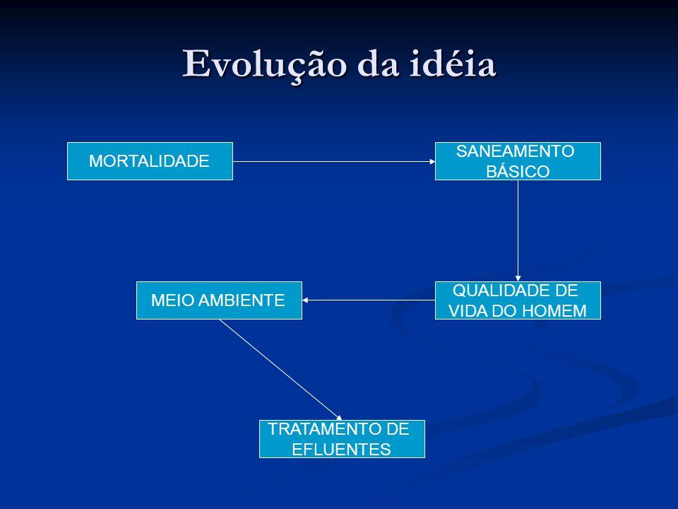 Evolução da idéia SANEAMENTO MORTALIDADE BÁSICO QUALIDADE DE