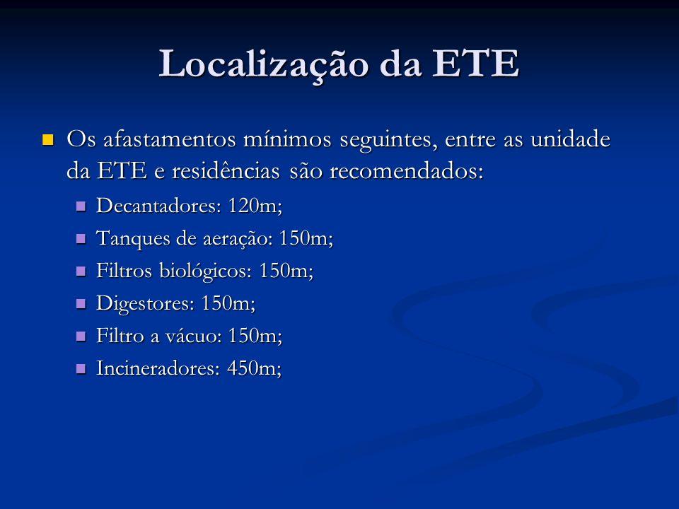 Localização da ETE Os afastamentos mínimos seguintes, entre as unidade da ETE e residências são recomendados: