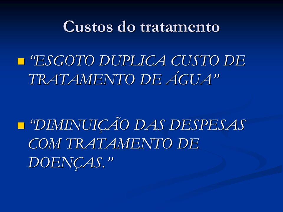 Custos do tratamento ESGOTO DUPLICA CUSTO DE TRATAMENTO DE ÁGUA