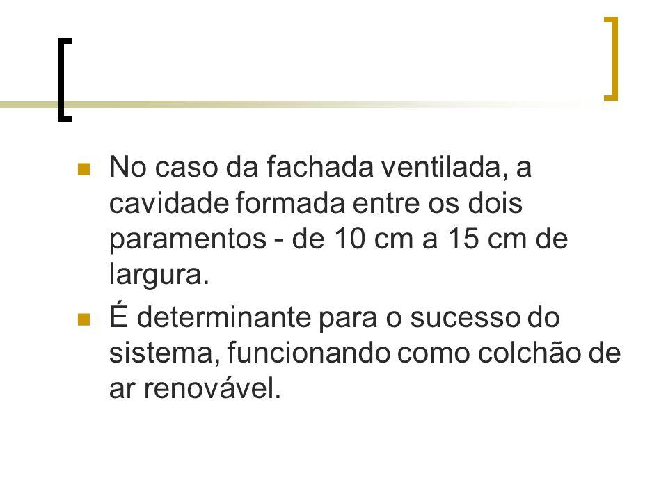 No caso da fachada ventilada, a cavidade formada entre os dois paramentos - de 10 cm a 15 cm de largura.
