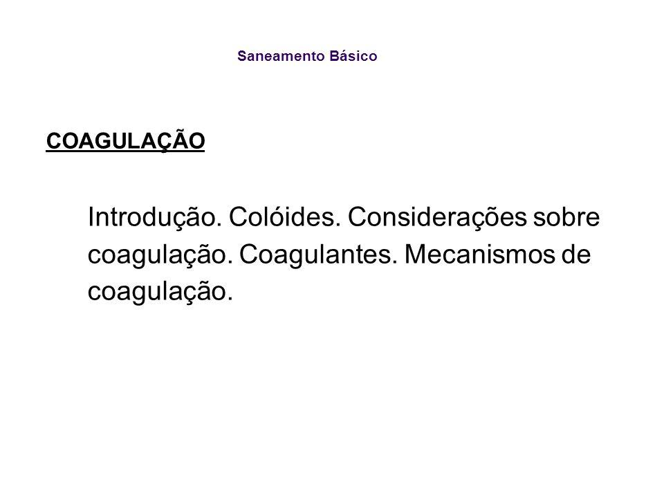 Saneamento Básico COAGULAÇÃO. Introdução. Colóides.