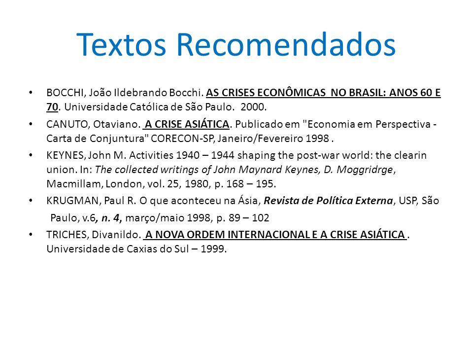Textos Recomendados BOCCHI, João Ildebrando Bocchi. AS CRISES ECONÔMICAS NO BRASIL: ANOS 60 E 70. Universidade Católica de São Paulo. 2000.