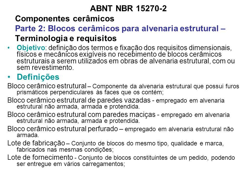 ABNT NBR 15270-2 Componentes cerâmicos Parte 2: Blocos cerâmicos para alvenaria estrutural – Terminologia e requisitos