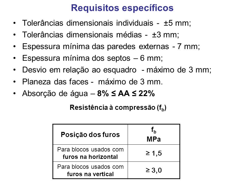 Requisitos específicos