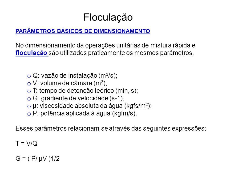 5 Floculação PARÂMETROS BÁSICOS DE DIMENSIONAMENTO.