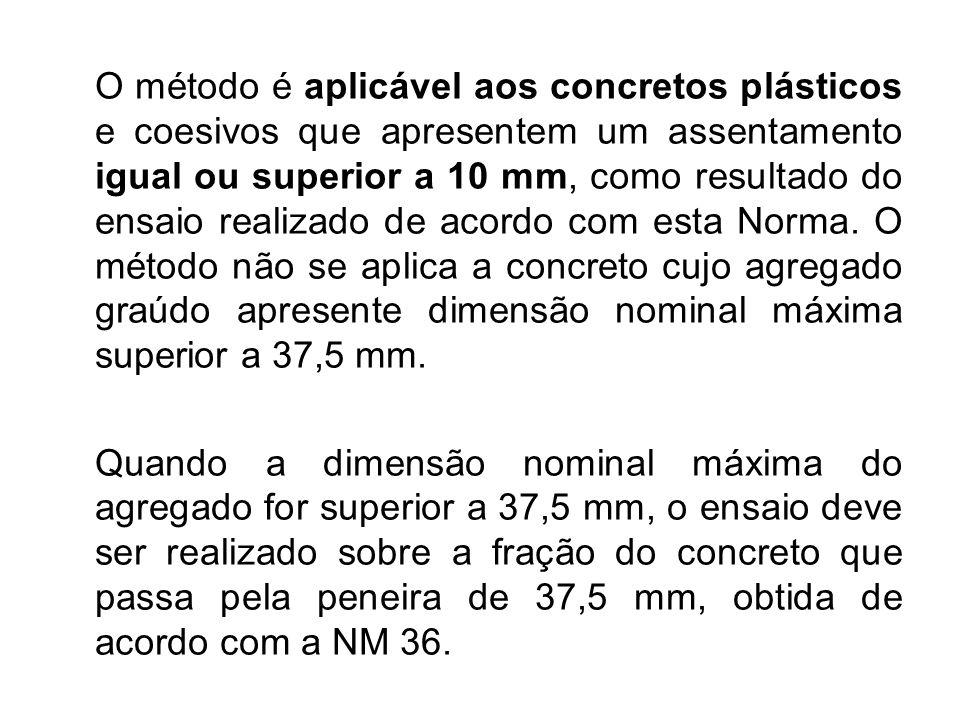O método é aplicável aos concretos plásticos e coesivos que apresentem um assentamento igual ou superior a 10 mm, como resultado do ensaio realizado de acordo com esta Norma. O método não se aplica a concreto cujo agregado graúdo apresente dimensão nominal máxima superior a 37,5 mm.