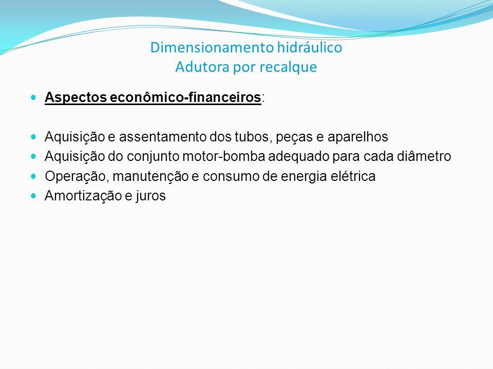 Dimensionamento hidráulico Adutora por recalque