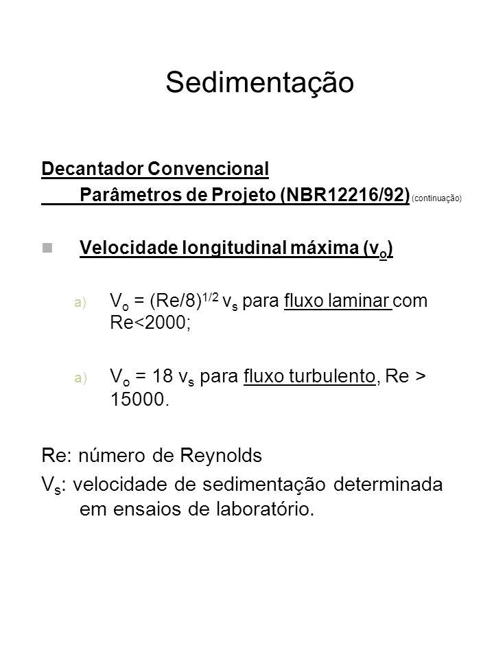 Sedimentação Re: número de Reynolds