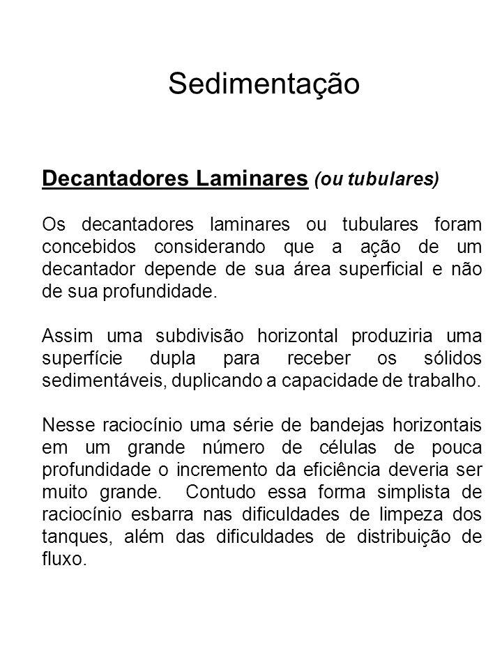 Sedimentação Decantadores Laminares (ou tubulares)