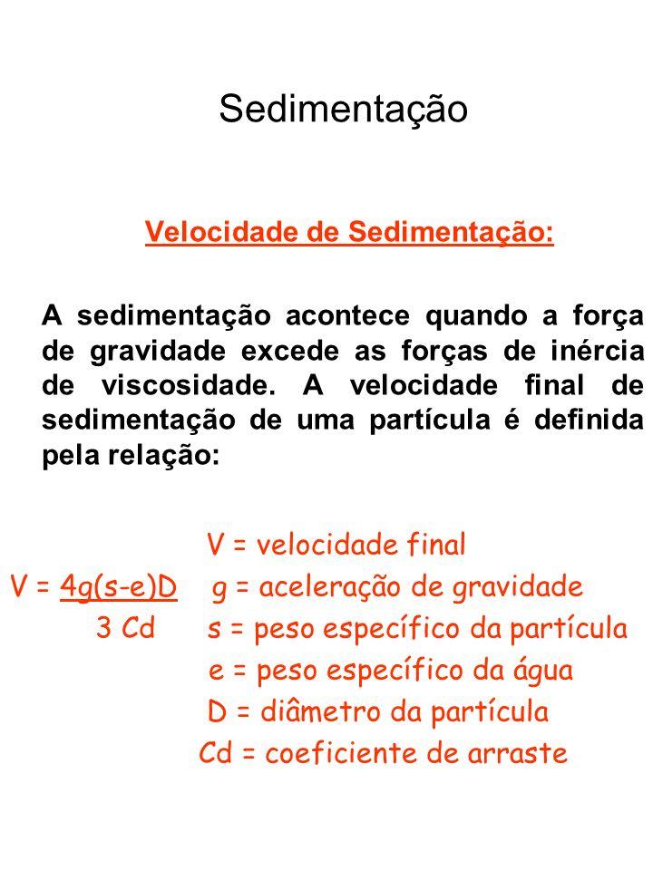 Sedimentação V = velocidade final Velocidade de Sedimentação: