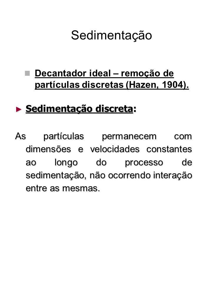 Sedimentação Decantador ideal – remoção de partículas discretas (Hazen, 1904). Sedimentação discreta: