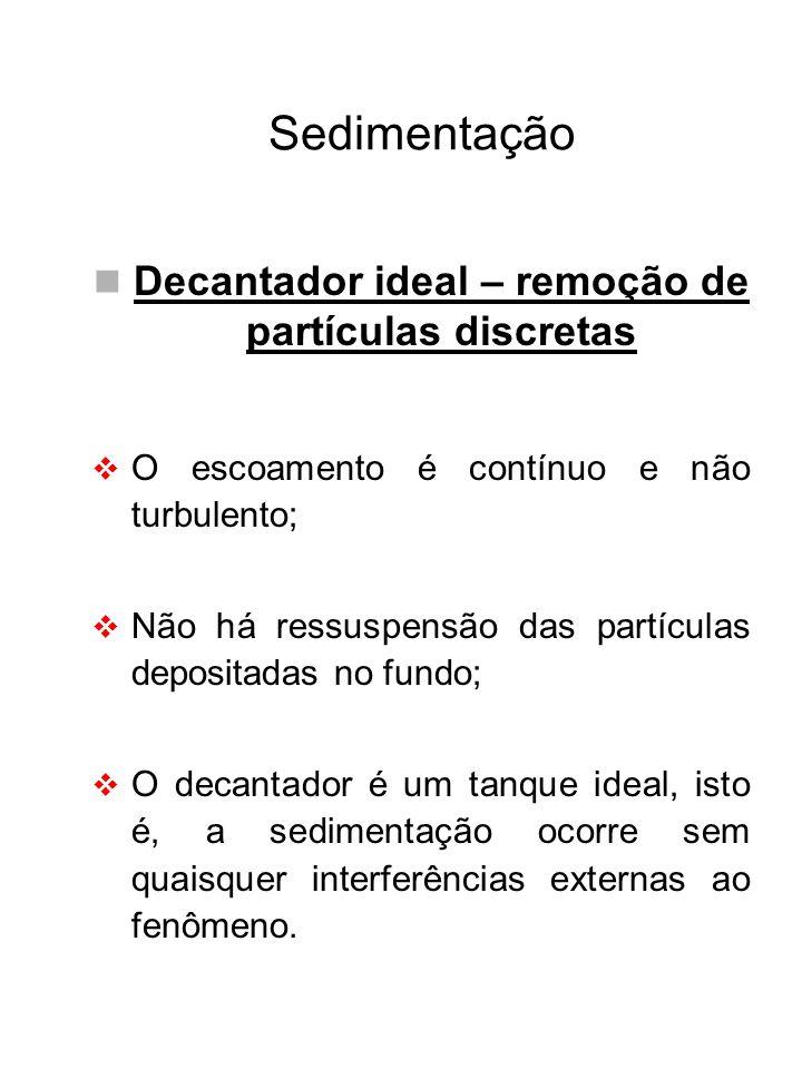 Decantador ideal – remoção de partículas discretas