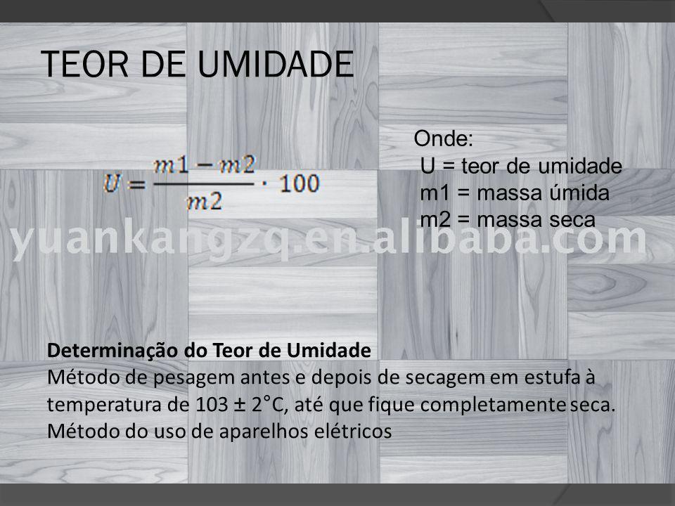 TEOR DE UMIDADE Onde: U = teor de umidade m1 = massa úmida