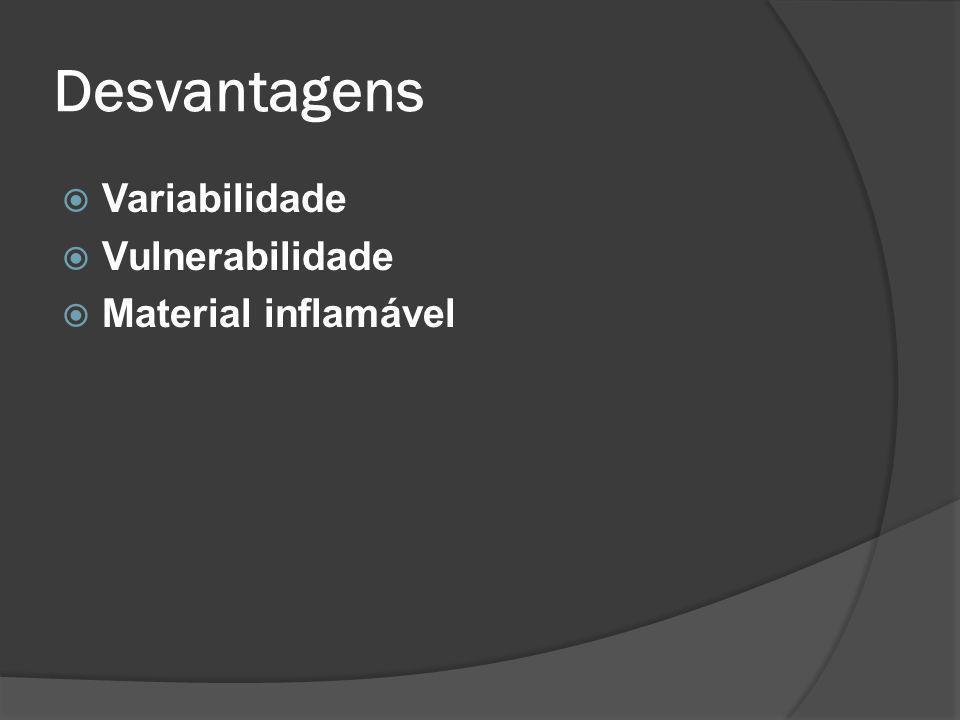 Desvantagens Variabilidade Vulnerabilidade Material inflamável