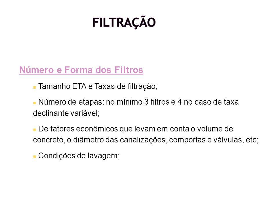 Filtração Número e Forma dos Filtros Tamanho ETA e Taxas de filtração;